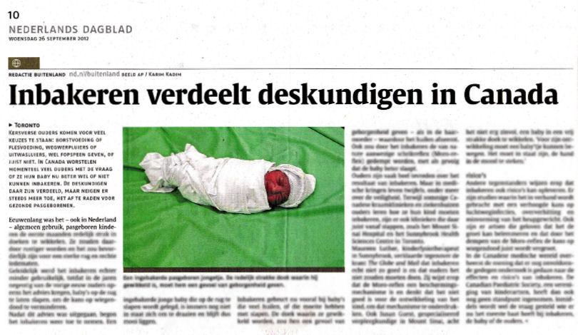 Nederlands Dagblad, Inbakeren verdeelt deskundigen in Canada